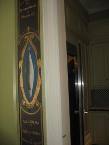 Mural with gilt finish outside pantry
