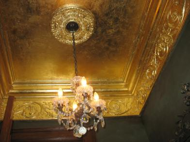 Gilt powder room ceiling
