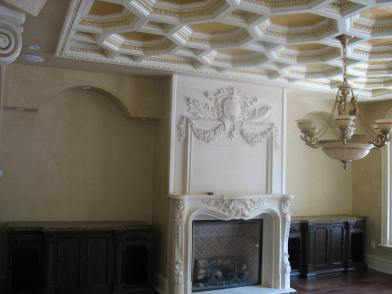 Venitian plaster walls with gold leaf ceiling