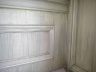 Strie finish on paneled wall.